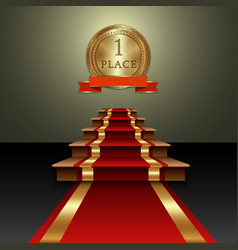 Abstract of red carpet and first place gold medal vector