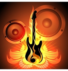 Music theme with flaming guitar vector