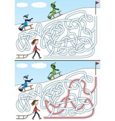 Winter maze vector