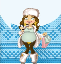 Pregnant woman in winter wear with phone vector