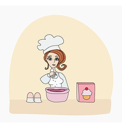 Housewife baked a delicious cake vector
