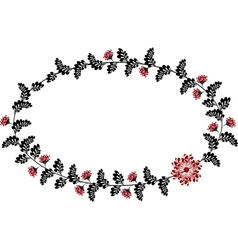 Frame with red and black flowers in the shape of vector