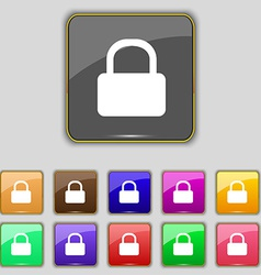 Pad lock icon sign set with eleven colored buttons vector