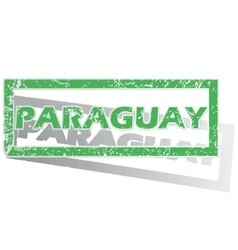 Green outlined paraguay stamp vector