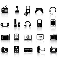 Electronics silhouettes vector