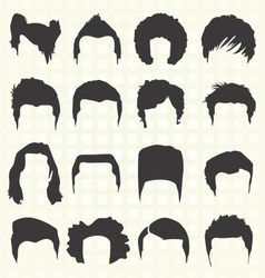 Retro mens hair style silhouettes vector