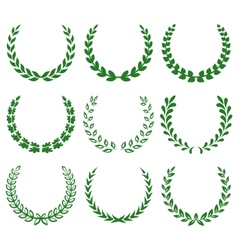 Green laurel wreaths 1 vector