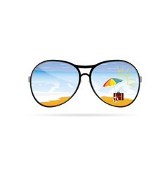 Sunglass with beach art vector