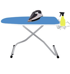 Ironing board iron and spray vector