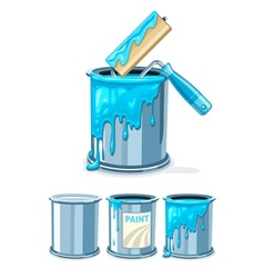 Buckets with blue paint and vector