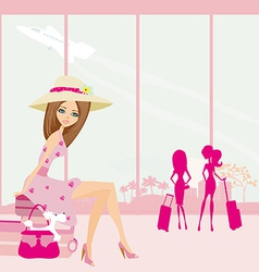 Beautiful traveler girl with luggage in airport vector