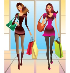 Fashion girls with new purchases vector