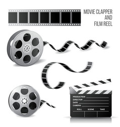 Movie clapper and film reel vector