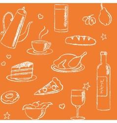 Seamless pattern with doodle food and drinks vector