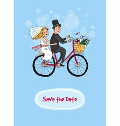 Bride and groom on a bicycle - save the date vector