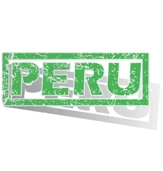 Green outlined peru stamp vector