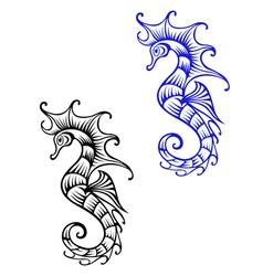 Underwater seahorse vector