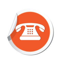 Phone icon orange sticker vector