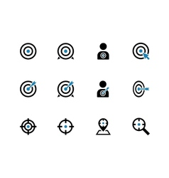 Target duotone icons on white background vector