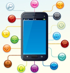 Smartphone with apps cloud vector
