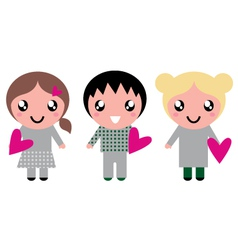 Cute kids with pink hearts isolated on white vector