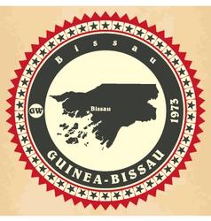 Vintage label-sticker cards of guinea-bissau vector