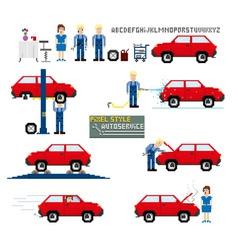 Pixel art style auto service vector