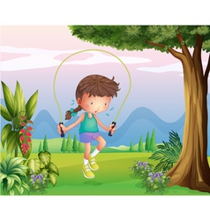 A sweaty young girl playing at the hills vector