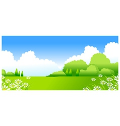 Green landscape with white flowers vector