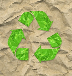 Cardboard crushed paper with recycle sign vector