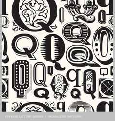 Seamless vintage pattern letter q vector