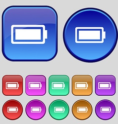Battery fully charged icon sign a set of twelve vector