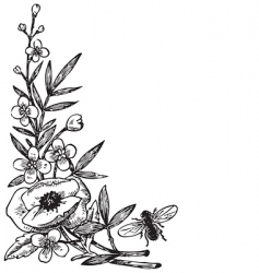 Antique flowers engraving vector