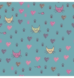 A seamless pattern of cats footprint prints vector