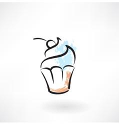 Cake grunge icon vector