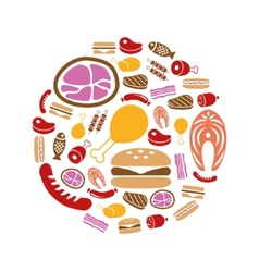 Meat icons in circle vector