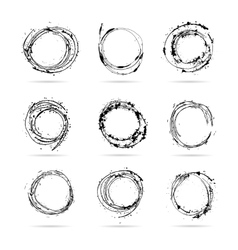 Set of hand drawn scribble isolated circles vector