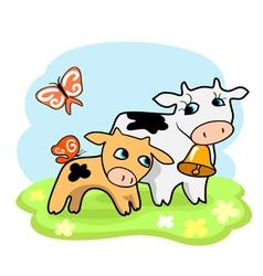Cute cartoon cows vector