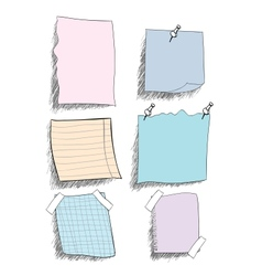 Set of sketchy coloured paper notes with pin eps vector