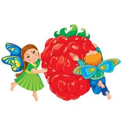 Children hold red raspberries vector