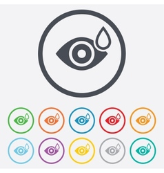 Eye with water drop sign drip into the eyes vector
