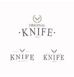 Logo with a set of knives on white background vector