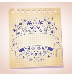 Heart frame blank banner note paper cartoon sketch vector