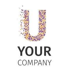 Alphabet particles logotype letter-u vector