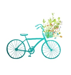 Vintage summer bike with bunch of flowers card vector