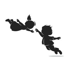 Girl and boy in flight vector