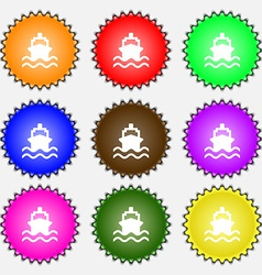 Ship icon sign a set of nine different colored vector