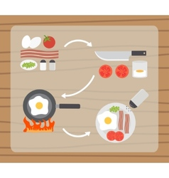 Fried eggs making process preparing food icons set vector