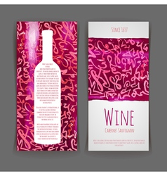 Set of wine labels artistic watercolor backgroun vector