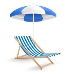 Sun beach umbrella with beach chair isolated on vector